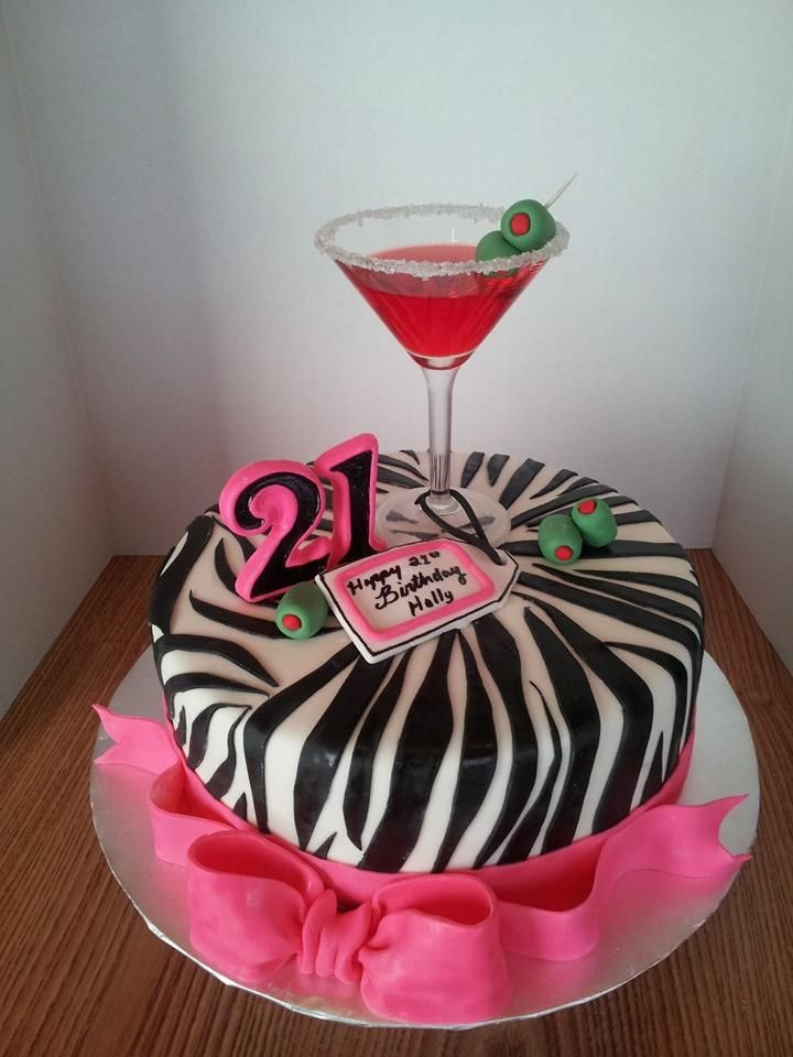 21st Birthday Cake Hot Pink And Zebra Striped Cake With