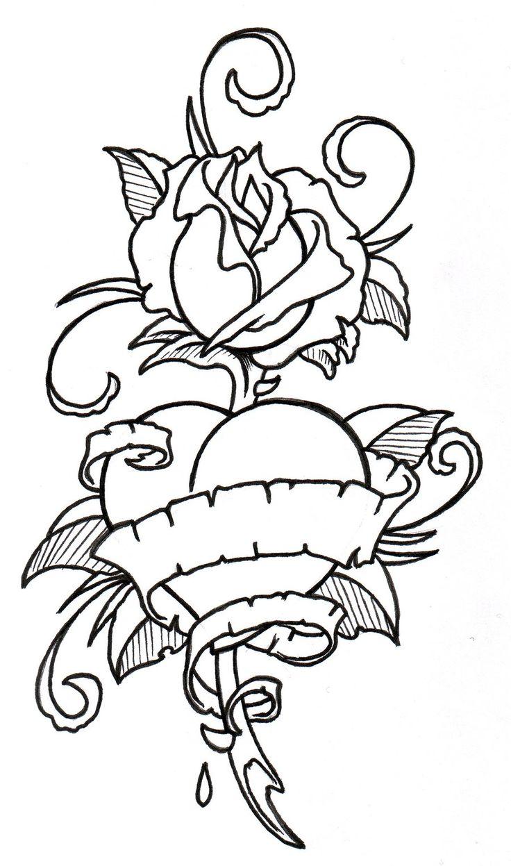 tatoo art rose RoseHeart Outline by vikingtattoo on