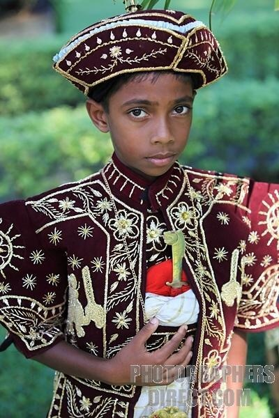 Sri Lankan boy in traditional Sri Lankan dress stock photo