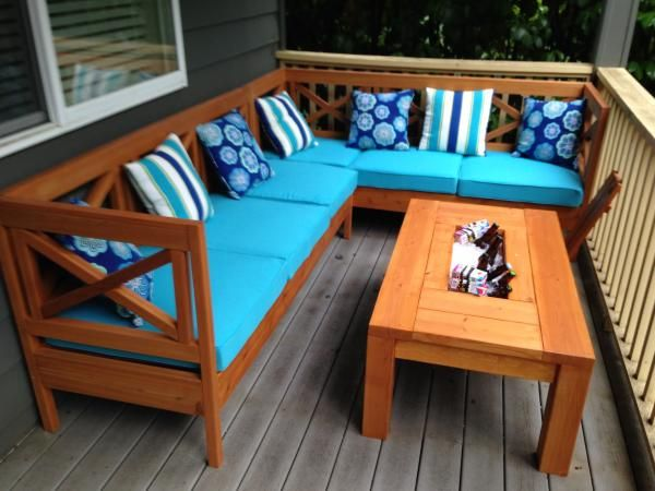 Diy Outdoor Sectional X Design Wood With Coffee Table Ice