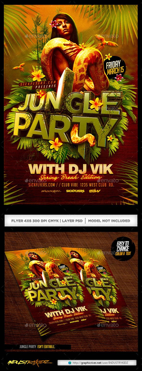 Jungle Party Flyer Best Jungle party and Party flyer ideas