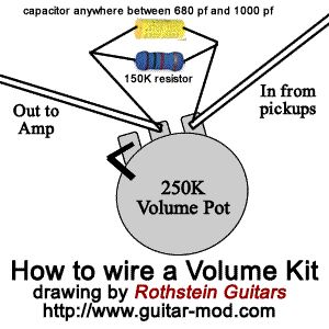 How to wire a treble bleed circuit to the volume pot, with
