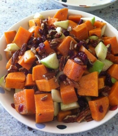 """Sweet Potato Salad Recipe – this was delicious! Added turkey lunchmeat and almonds. Tasted like """"Thanksgiving in a salad"""" to quote"""