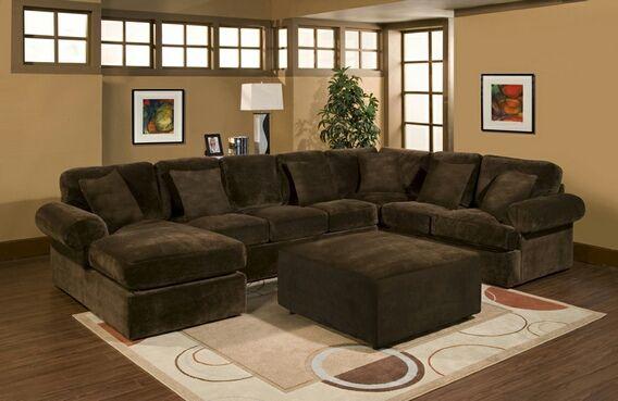 3 Pc Bradley Sectional Sofa With Chocolate Plush Velour
