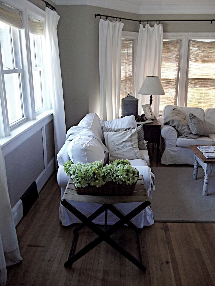 Living Area Feel Curtains And Couch With Worn Emerald Green Tv Stand Rustic Farmhouse