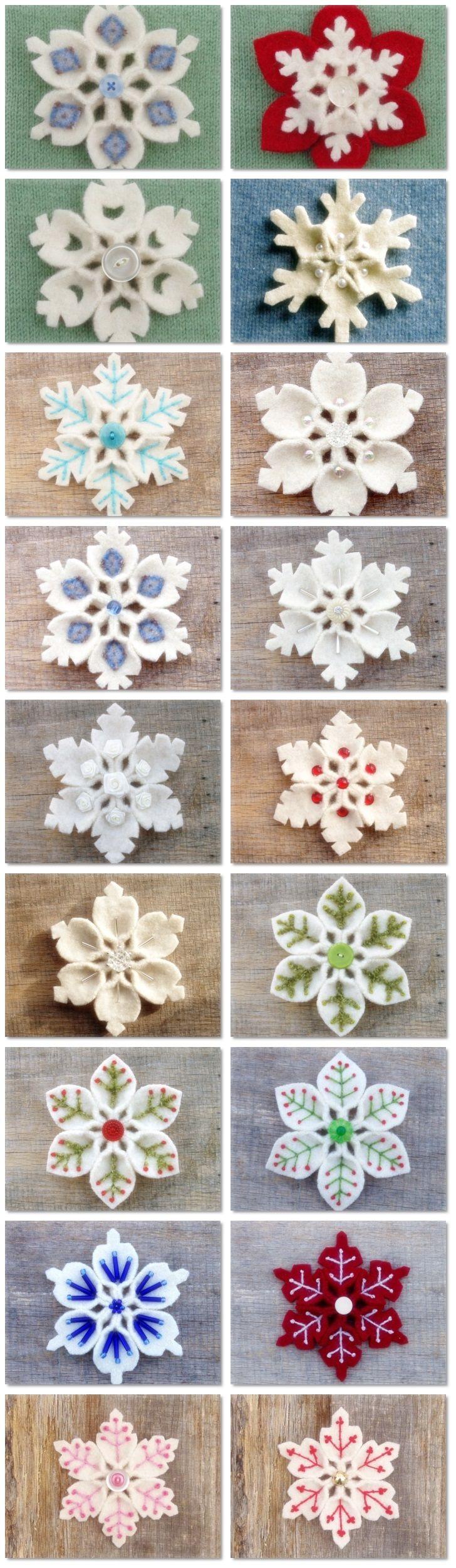 How to make Felt Snowflake DIY step by step tutorial
