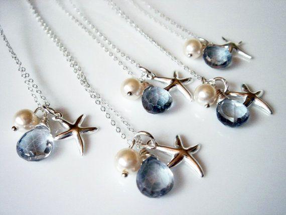 5 Beach Theme Wedding Starfish Blue Quartz 925 Necklace