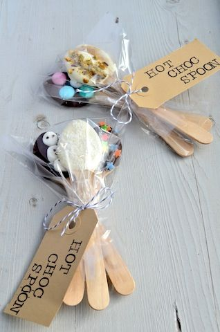 DIY Gift: Hot Choc Spoons.  These are something the kids can make for teachers,