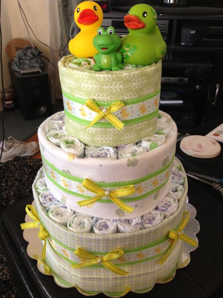 Diaper Cake!! 1 large bottle baby powder hot glued to 14