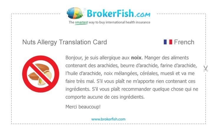 Image Result For Peanut Allergy Translation Cards