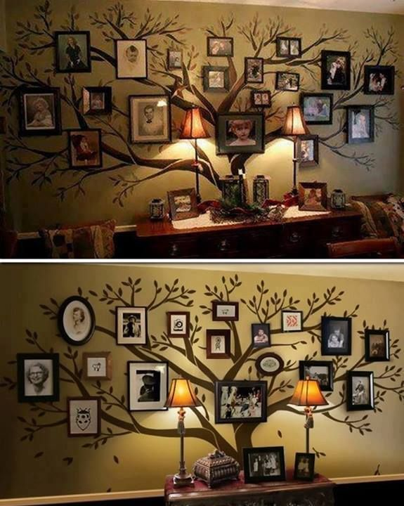 Family Tree Wall Decal, Large Tree Decals, Photo, Memories Tree Stickers… Great idea for a large entry way !