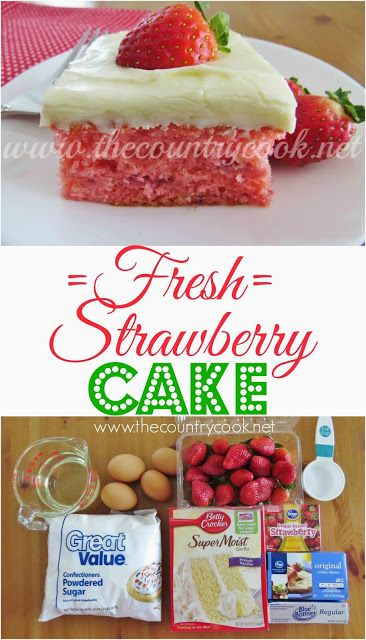 Fresh Strawberry Cake Recipe from The Country Cook. Cake mix combined with fresh strawberries all topped with a cream cheese and