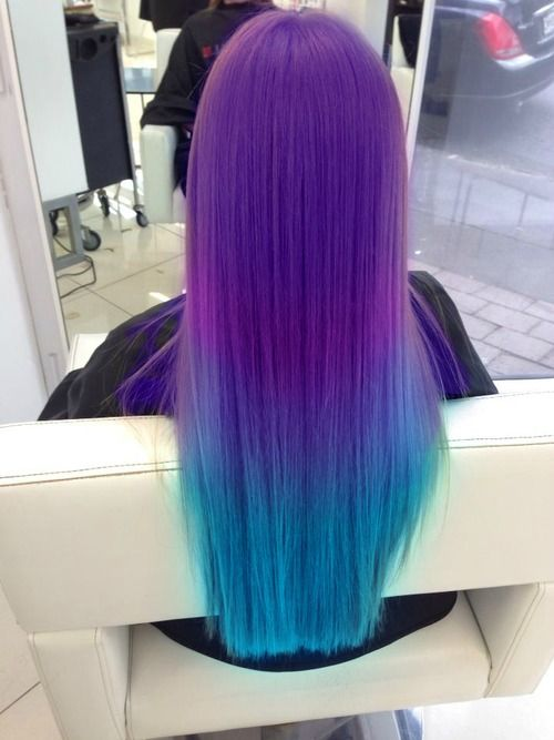 Purple and turquoise hair.  I'm not usually a fan of brightly colored hair.  But this is pretty.