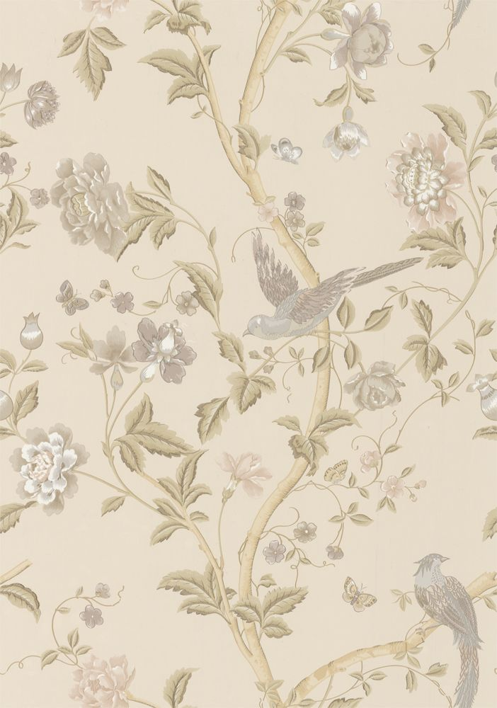 Summer Palace Taupe Ivory Wallpaper By Laura Ashley