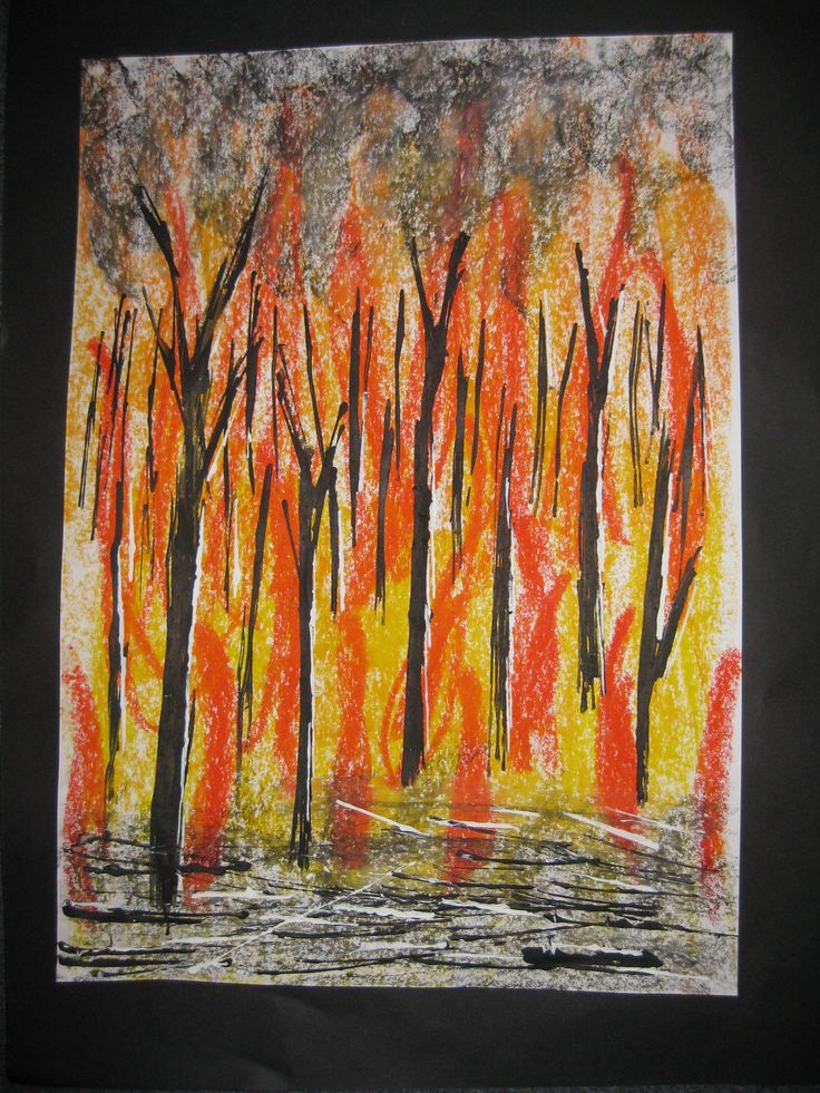 Bushfire oil pastel background and printed paint trees