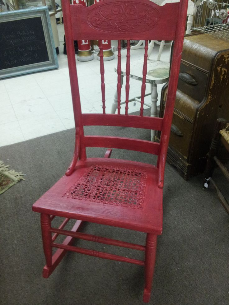Solid oak, vintage sewing (armless) rocker with cane seat