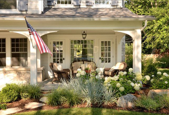 Porch Ideas. Cute front porch! #Porch  doors and window love the window in middle doors on side like in dining