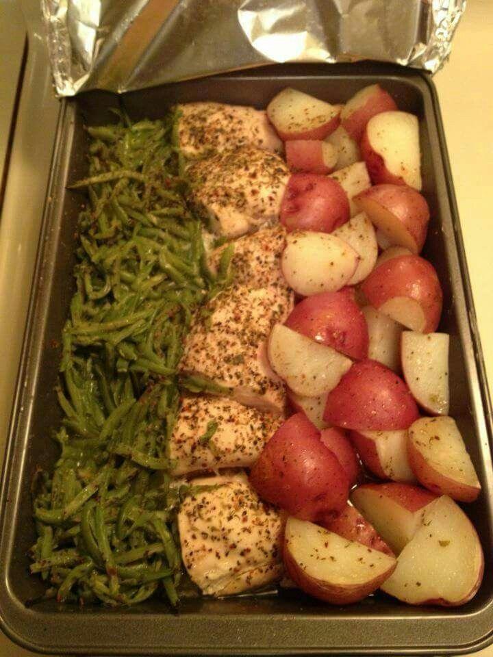 ~Zesty Chicken, Potato, and Green Bean Bake~ 9×13 pan, cut 3 boneless chicken breast in half, add 2 cans o