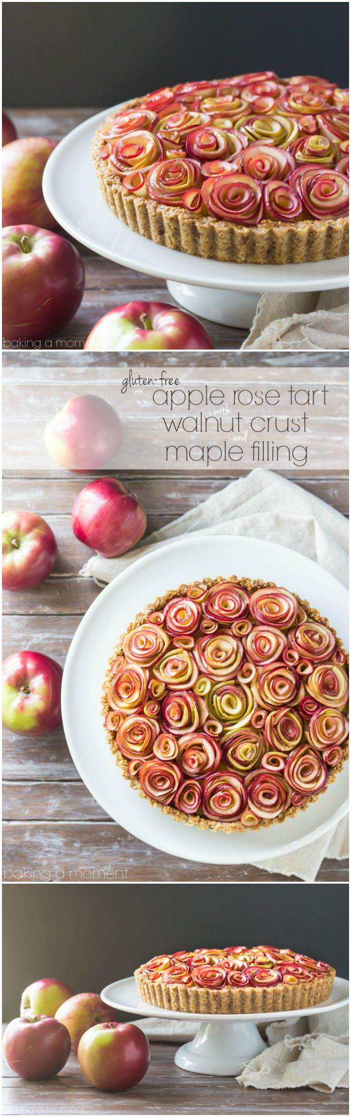 Your guests will be wowed by this gorgeous apple tart of roses, with a toasty walnut crust and a silky