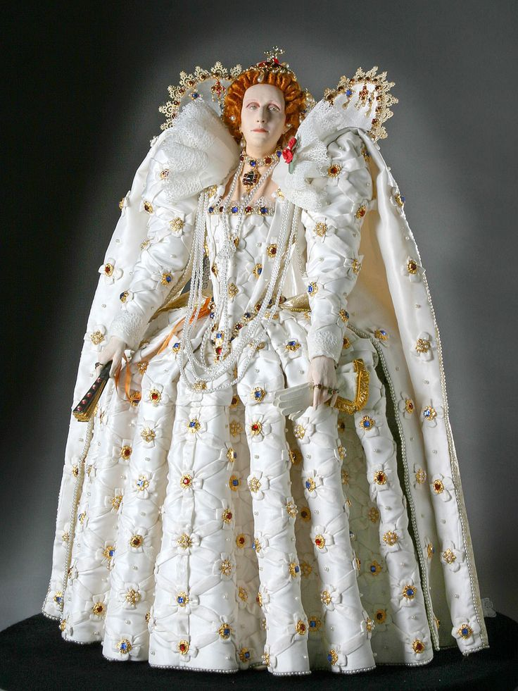 Full Length View of Elizabeth I in mixed media. Figure
