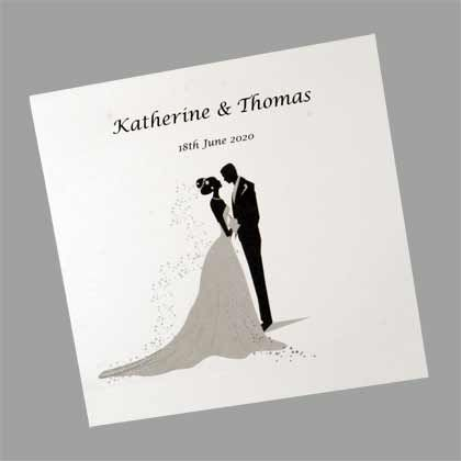 Bride And Groom Silhouette Square Folding Wedding