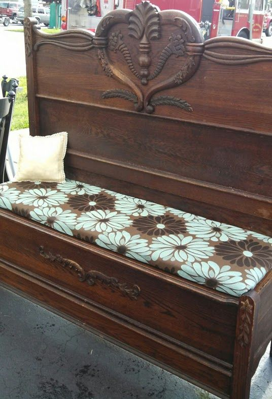 Bench I Made Out Of An Antique Bed Frame I Found In The