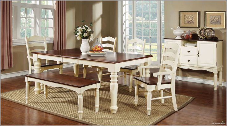 6 Pc Dining Set Contemporary Farmhouse Country Style Table Chairs Kitchen RoomGo Save BIG