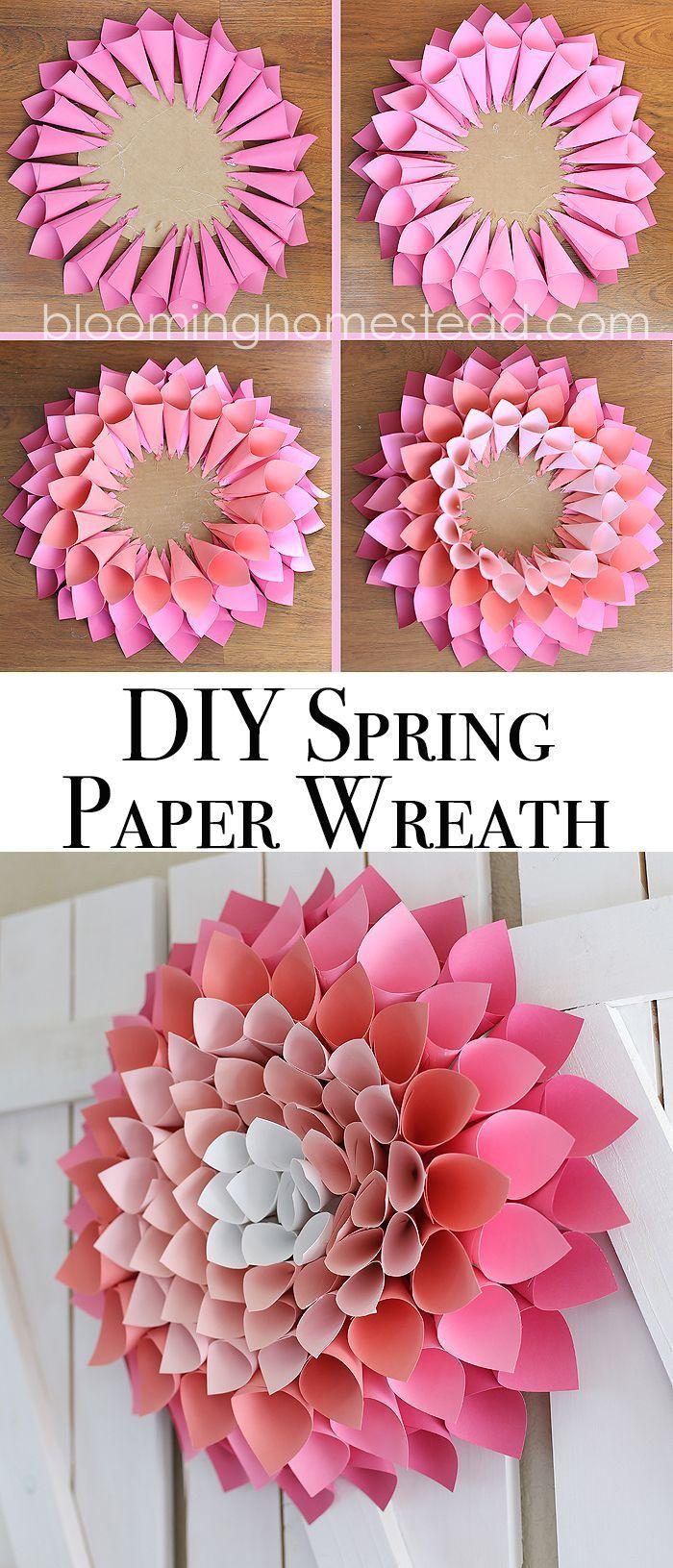 DIY Spring Wreath Page 2 of 2 Paper dahlia