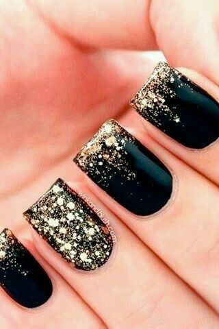 Cute black and gold sparkly gel nail designs!