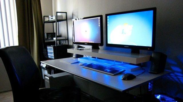 Dual Screens Blue LEDs And A DIY Desk Shelf Stand For