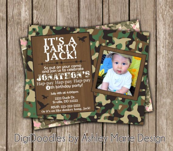 Duck dynasty party invitations newsinvitation camo duck dynasty woodland green camouflage country red neck birthday party invitations and thank filmwisefo