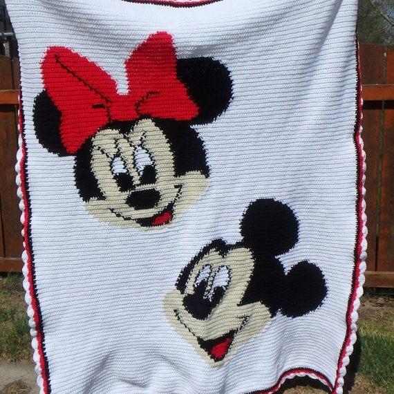 Mickey And Minnie Mouse Crocheted Blanket Afghan Bed Spread Comforter Twin Size 4 6