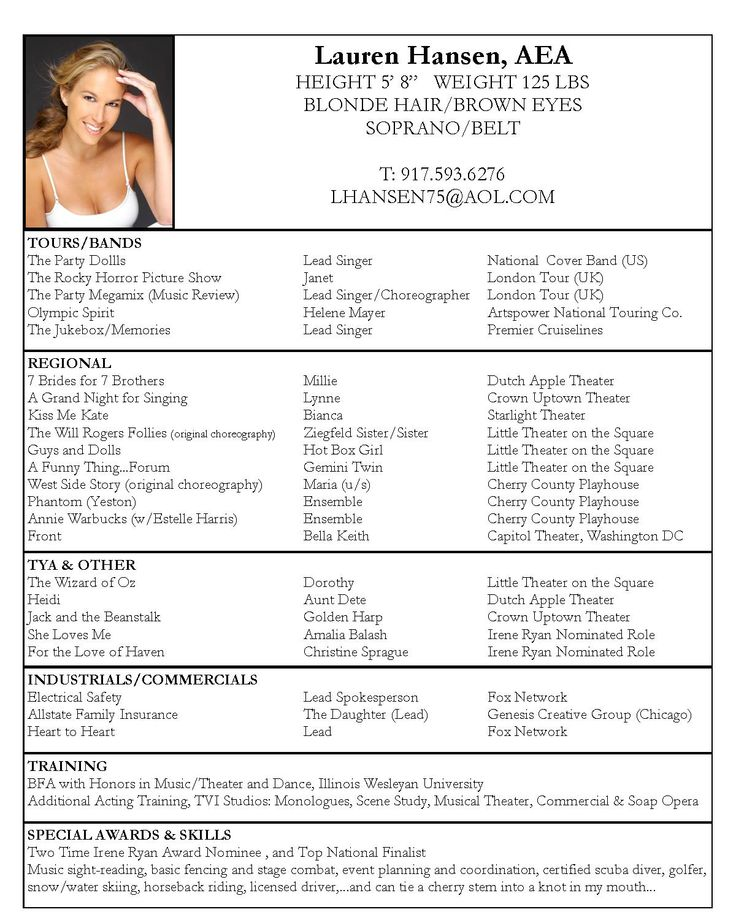 Dance Audition Resume Template. Sample Dancer Cover Letter Dance