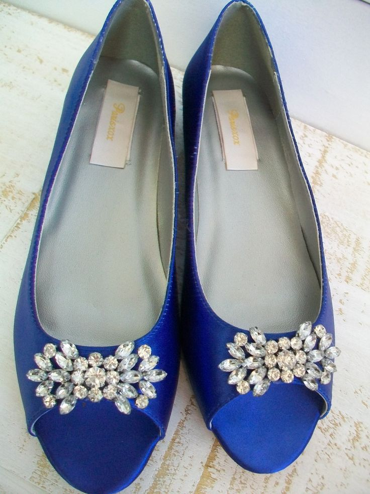 Blue Wedding Shoes 1/2 Inch Flat Peep Toe Crystal Bling