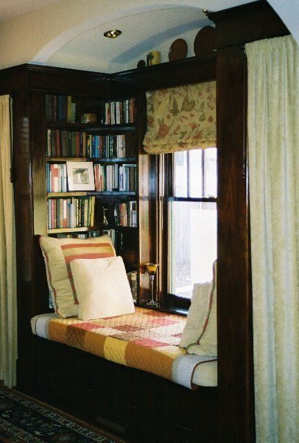 Reading Alcove with vintage filing drawers inserted underneath the bench / Carpe