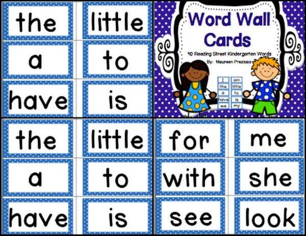 Free Reading Street Kindergarten High Frequency Word Wall
