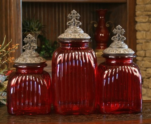 Glass Canisters Decorative Glass And Canister Sets On