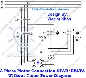 3 Phase Motor Connection STARDELTA Without Timer power