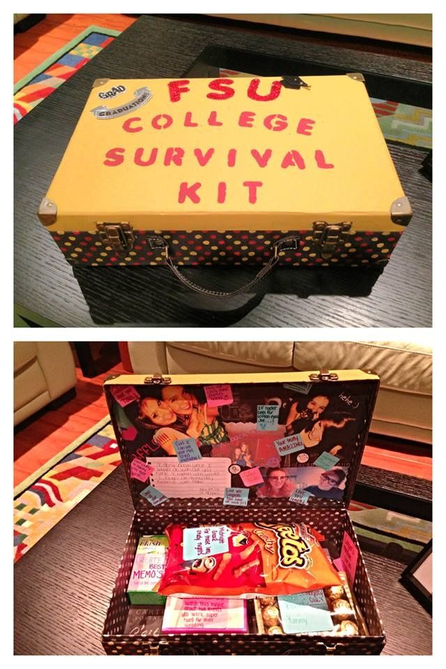 This cute survival kit includes things like pictures, food