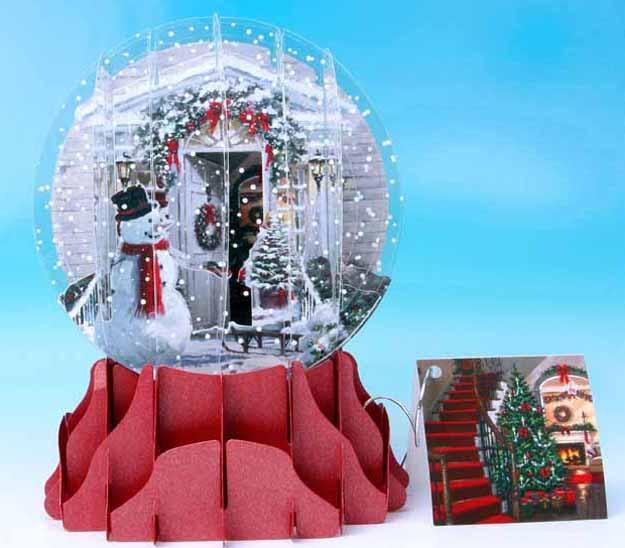 Christmas Door 3D Snow Globe Card LARGE Snow Globes