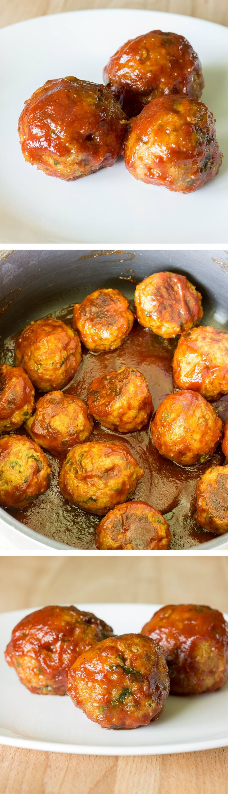 Honey Barbeque Chicken Meatballs – Flavorful chicken meatballs are baked, then simmered in a sweet & tangy homemade BBQ sauce.