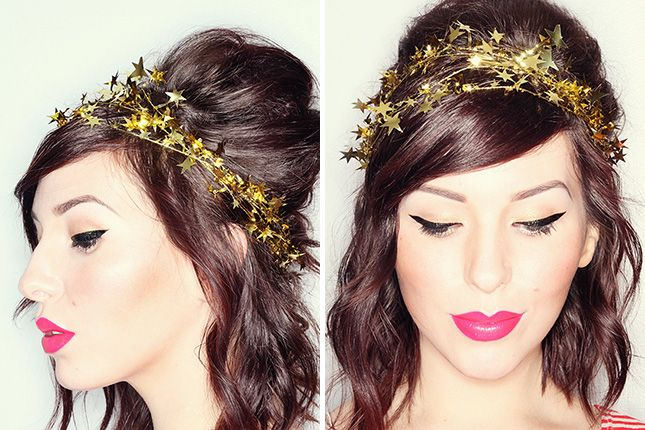DIY this star garland crown for New Year's Eve.: