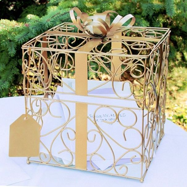 Perfect for any earth tone wedding color theme or a 50th wedding anniversary party, guests will know just where to deposit your gift cards this 10 x 10 gold scroll reception gift card box featuring ornate metal vine scroll design, shimmering ribbon, bow and gift tag accents.: