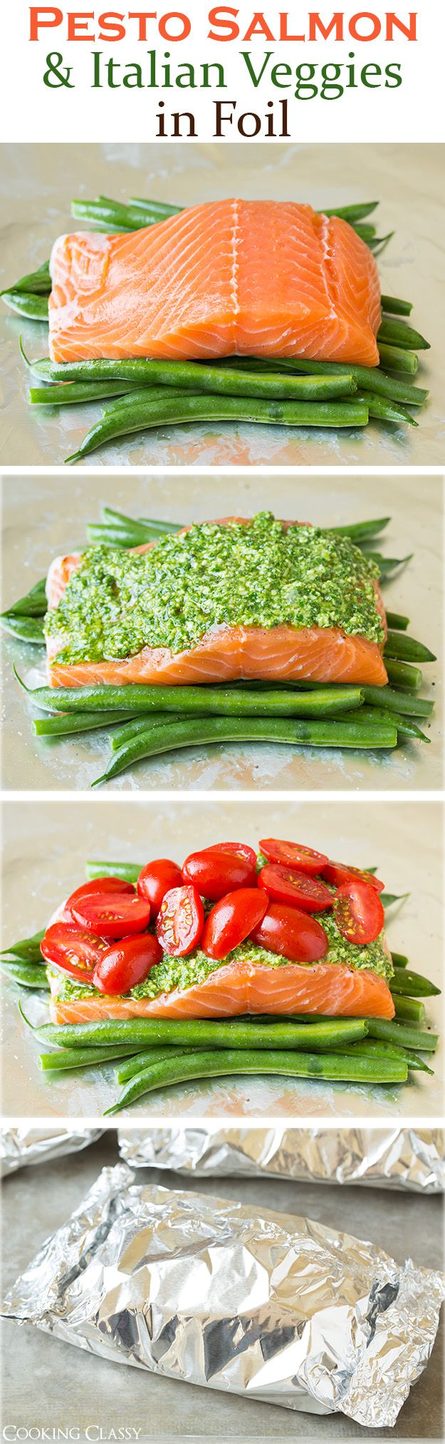 Pesto Salmon and Italian Veggies in Foil – this is an easy, flavorful dinner that is sure to please! So delicious!