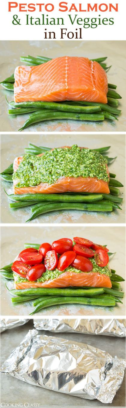 Pesto Salmon and Italian Veggies in Foil by cookingclassy #Salmon #Pesto #Veggies #Foil #Easy #Healthy