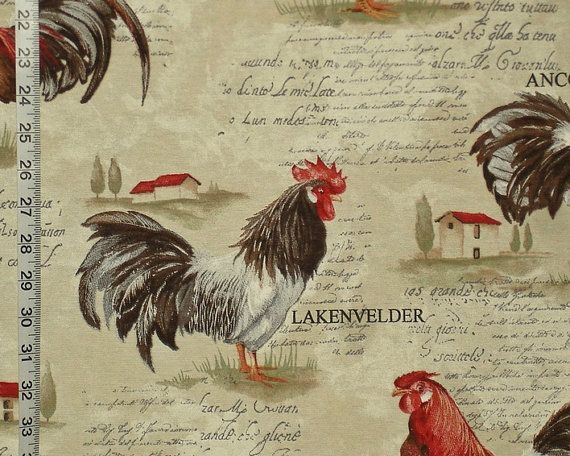 Rooster Toile Fabric Country Chicken French Writing Retro