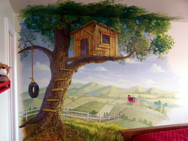 Lake House Modern Tree House Wall Murals Decorating Ideas