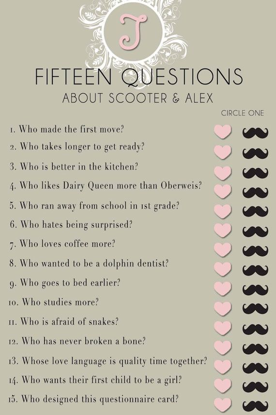 Bridal Shower Questionnaire Template Found On A