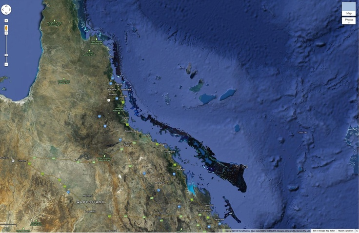 Great Barrier Reef Satellite Photo Australia from space