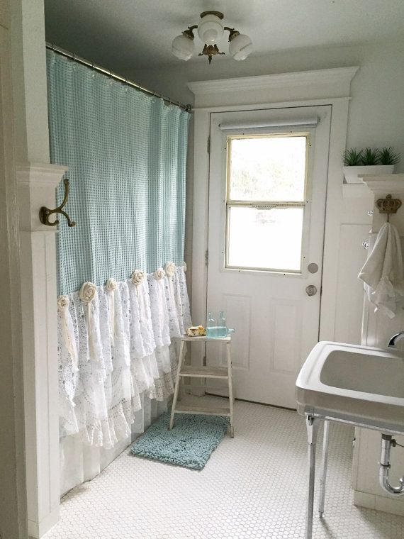 Shabby Chic Shower Curtain Aqua Blue Lace Ruffle By FarmHouseFare Etsy Finds Pinterest